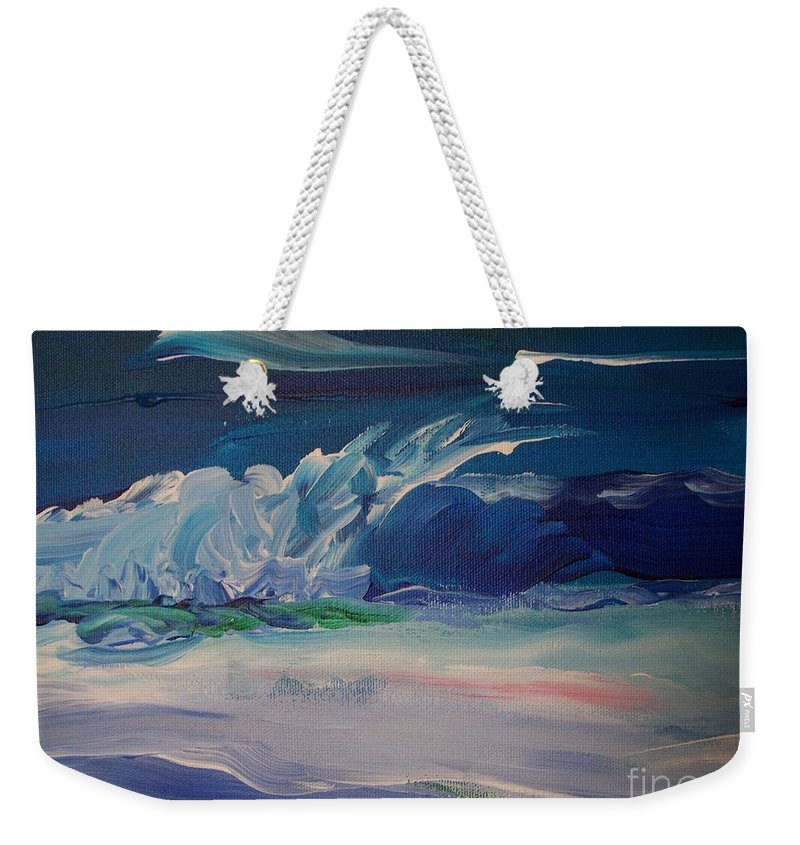 Impressionistic Weekender Tote Bag featuring the painting Impressionistic Abstract Wave by Eric Schiabor