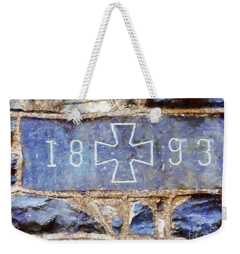 Church Weekender Tote Bag featuring the photograph In 1893 Church Cornerstone by Janine Riley