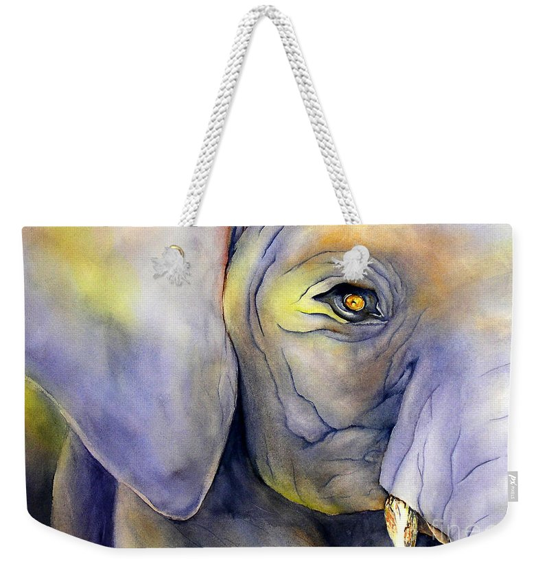 Painting Weekender Tote Bag featuring the painting In Captivity by Glenyse Henschel