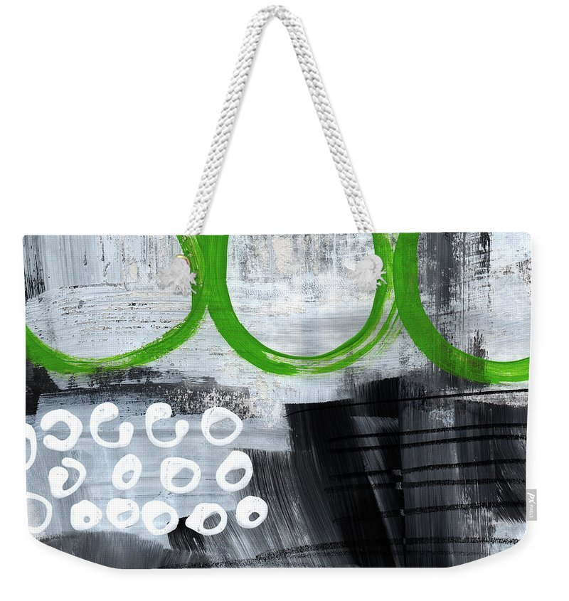 Abstract Weekender Tote Bag featuring the painting In Circles- Abstract Painting by Linda Woods