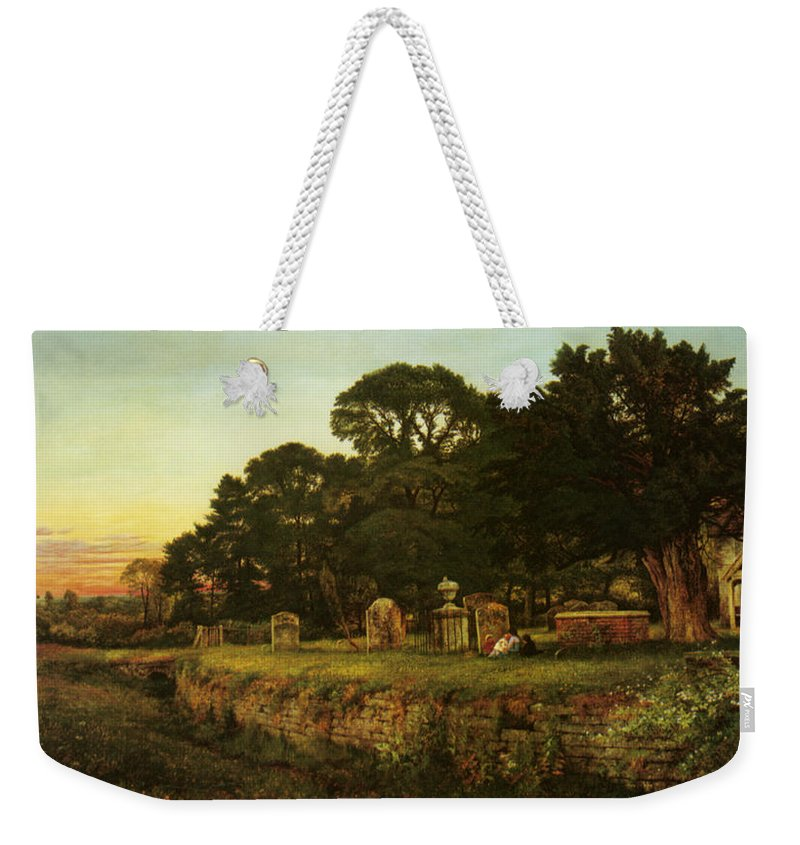 Benjamin Williams Leader Weekender Tote Bag featuring the digital art In Country Churchyard Wittington Worcester by Benjamin Williams Leader