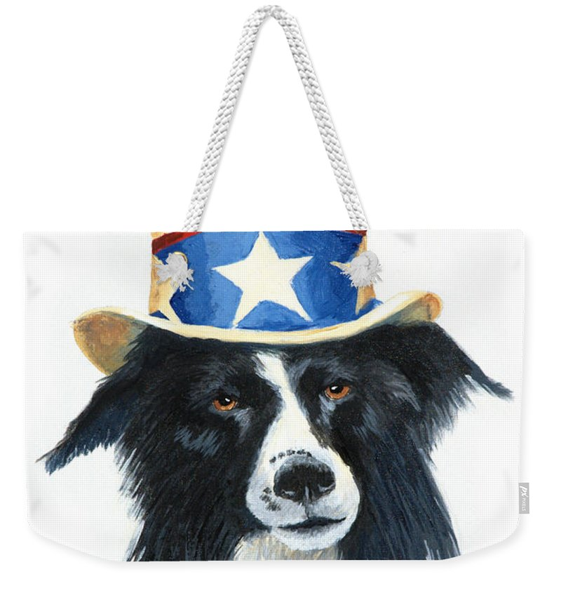 Dog Weekender Tote Bag featuring the painting In Dog We Trust by Jerry McElroy