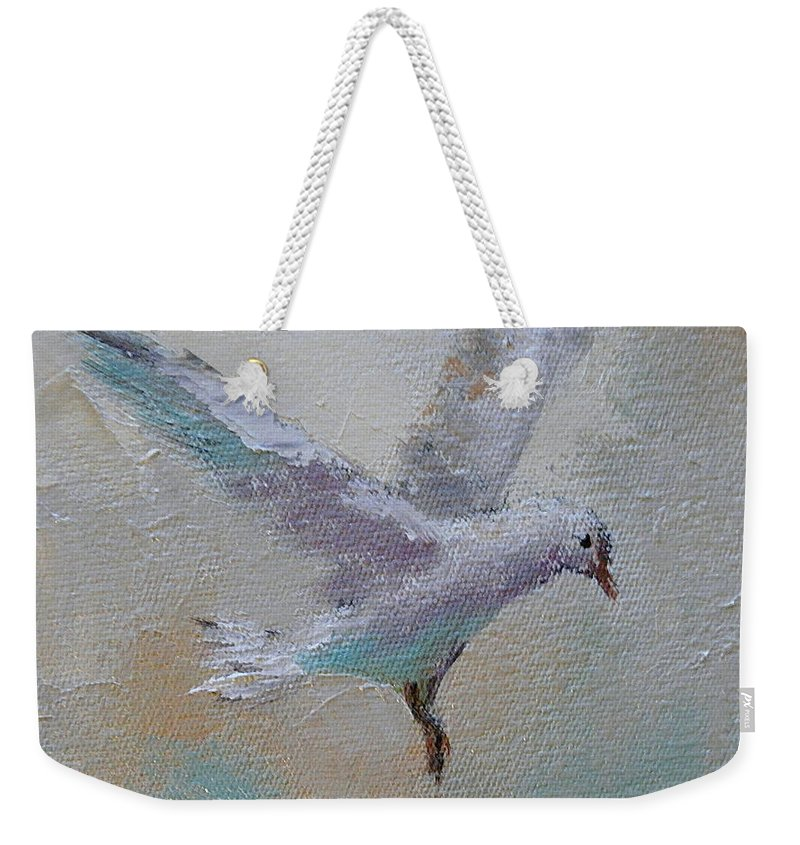 Sea Scape Weekender Tote Bag featuring the painting In Flight 1 by Yvonne Ankerman
