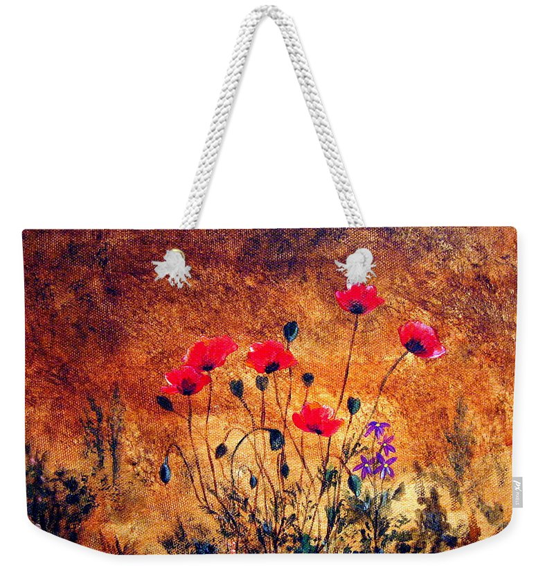Poppies Weekender Tote Bag featuring the painting In Harmony by Mary Arneson