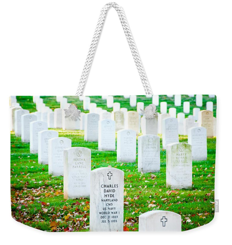 Arlington Cemetery Weekender Tote Bag featuring the photograph In Honor And Tribute by Greg Fortier