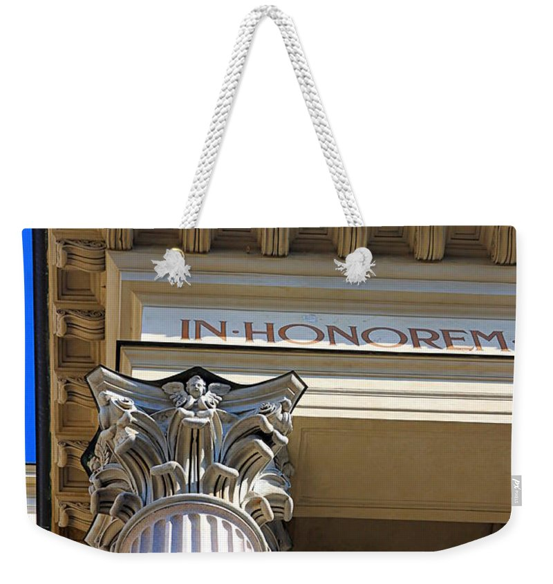 Column Weekender Tote Bag featuring the photograph In Honorem by Valentino Visentini