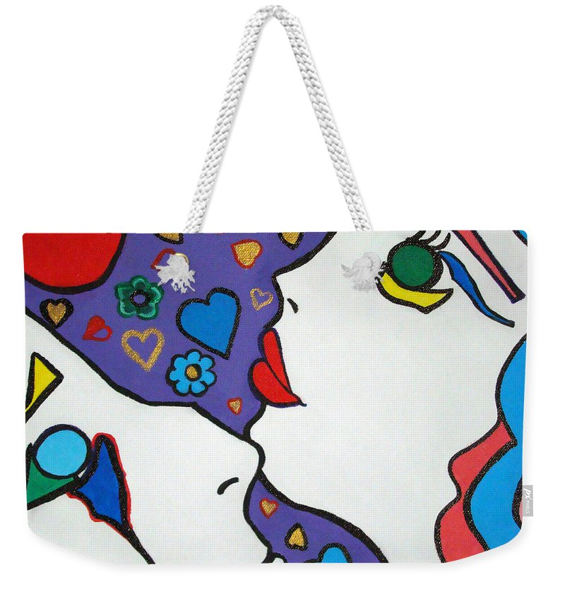 Pop-art Weekender Tote Bag featuring the painting In Love by Silvana Abel