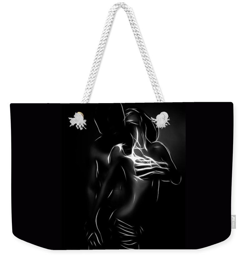 Couple Female Male Girl Boy Man Woman Love Lover Lovers Sex Erotic Black White Minimalism Erotic Painting Expressionism Hug Nude Boobs Naked Weekender Tote Bag featuring the painting In Love by Steve K
