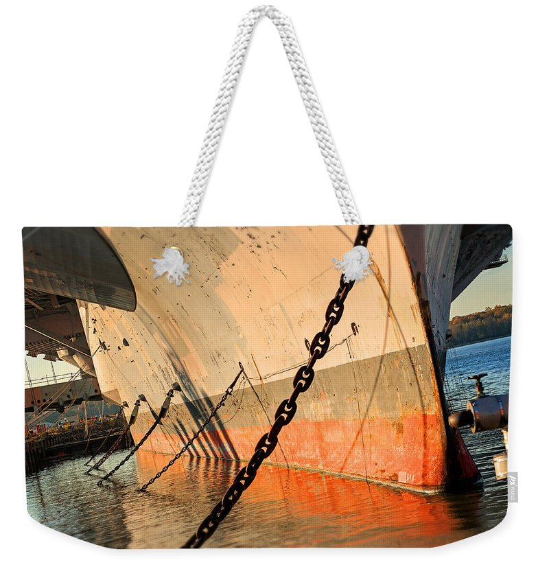 Carrier Weekender Tote Bag featuring the photograph In Port by Michael Porchik