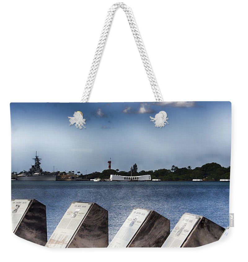 Uss Arizona Memorial Weekender Tote Bag featuring the photograph In Remembrance V7 by Douglas Barnard