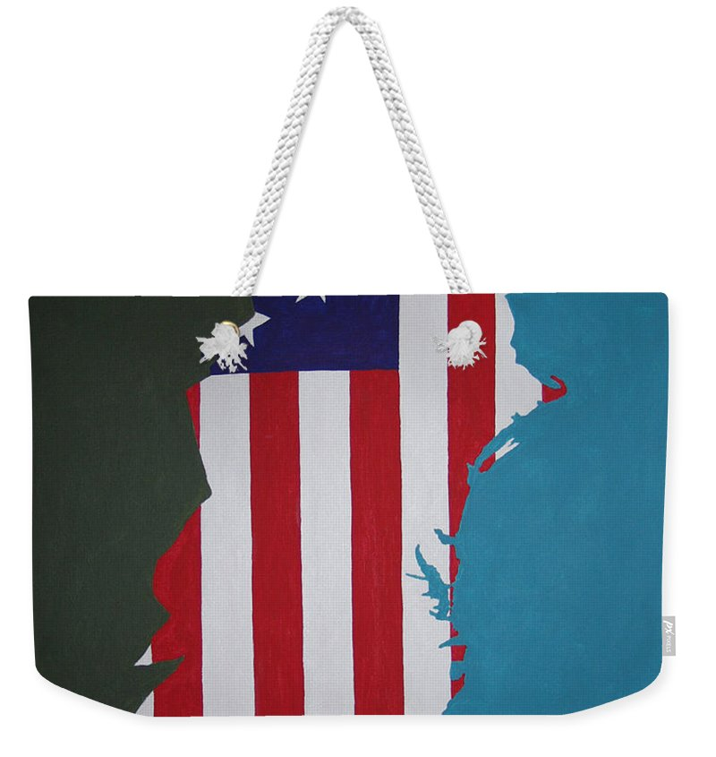 Painting Weekender Tote Bag featuring the painting In The Beginning by Dean Stephens