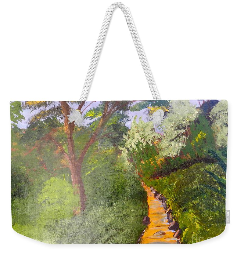 Impressionism Weekender Tote Bag featuring the painting In The Bush Near My Place by Pamela Meredith