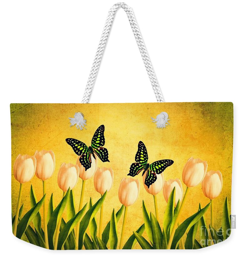 Edward Weekender Tote Bag featuring the photograph In The Butterfly Garden by Edward Fielding