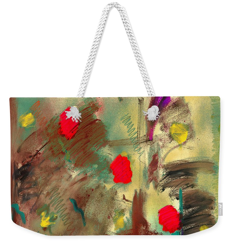 Abstract Weekender Tote Bag featuring the painting In The Garden Square by Dale Moses