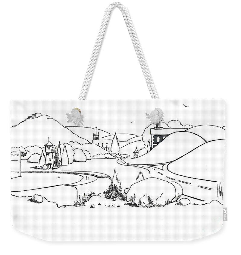 In The Land Of Brigadoon Weekender Tote Bag featuring the drawing In The Land Of Brigadoon by Kip DeVore