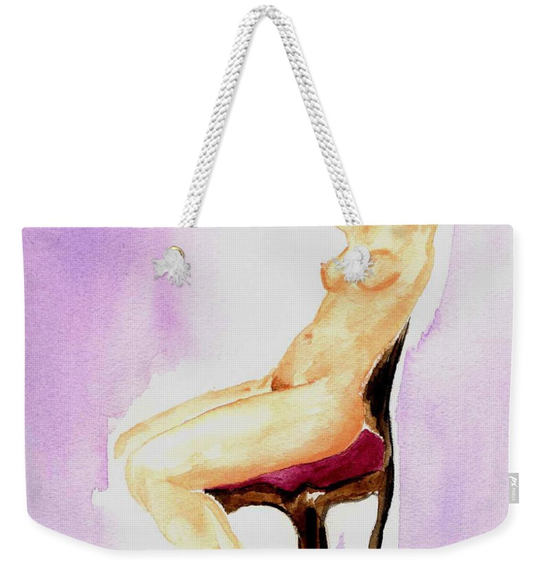 Woman Weekender Tote Bag featuring the painting In The Parlor by Donna Blackhall