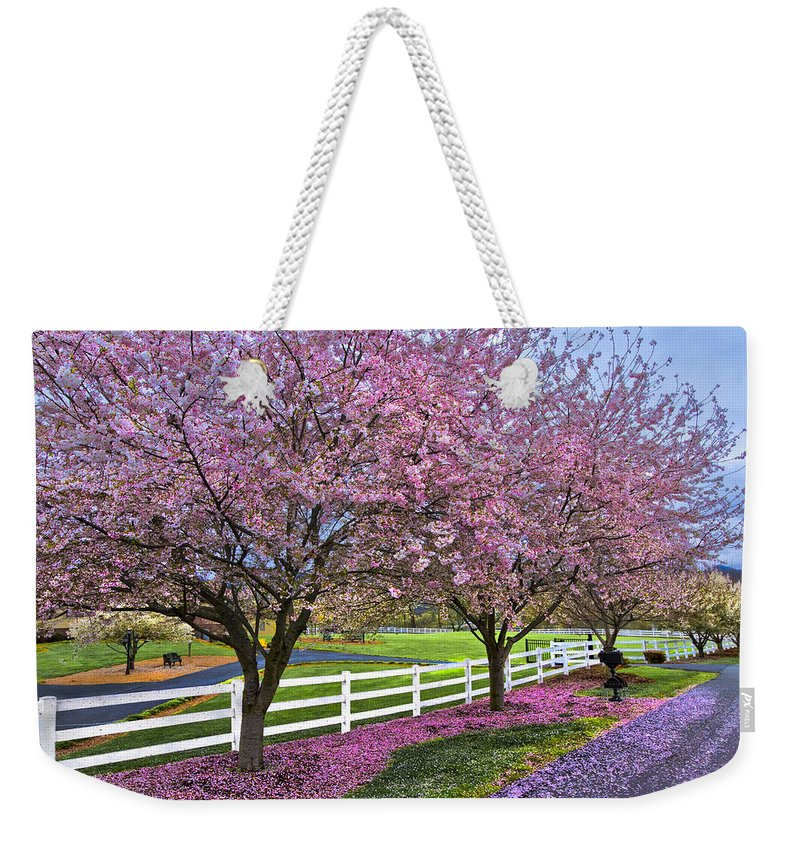 Andrews Weekender Tote Bag featuring the photograph In The Pink by Debra and Dave Vanderlaan
