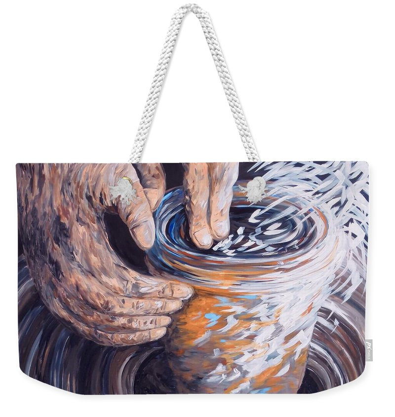 Christian Weekender Tote Bag featuring the painting In The Potter's Hands by Eloise Schneider Mote