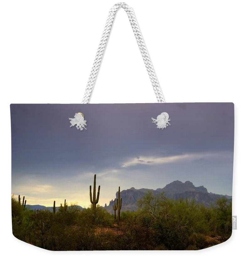 Sunset Weekender Tote Bag featuring the photograph In The Shadows Of The Superstitions by Saija Lehtonen