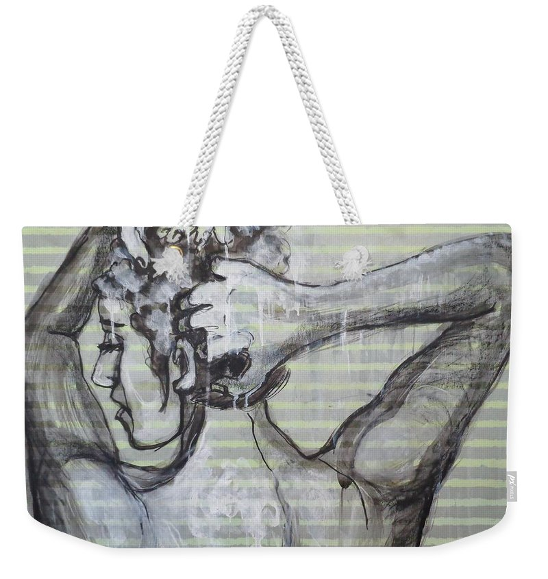 In The Shower Weekender Tote Bag featuring the painting In The Shower 2- Portrait Of A Woman by Carmen Tyrrell