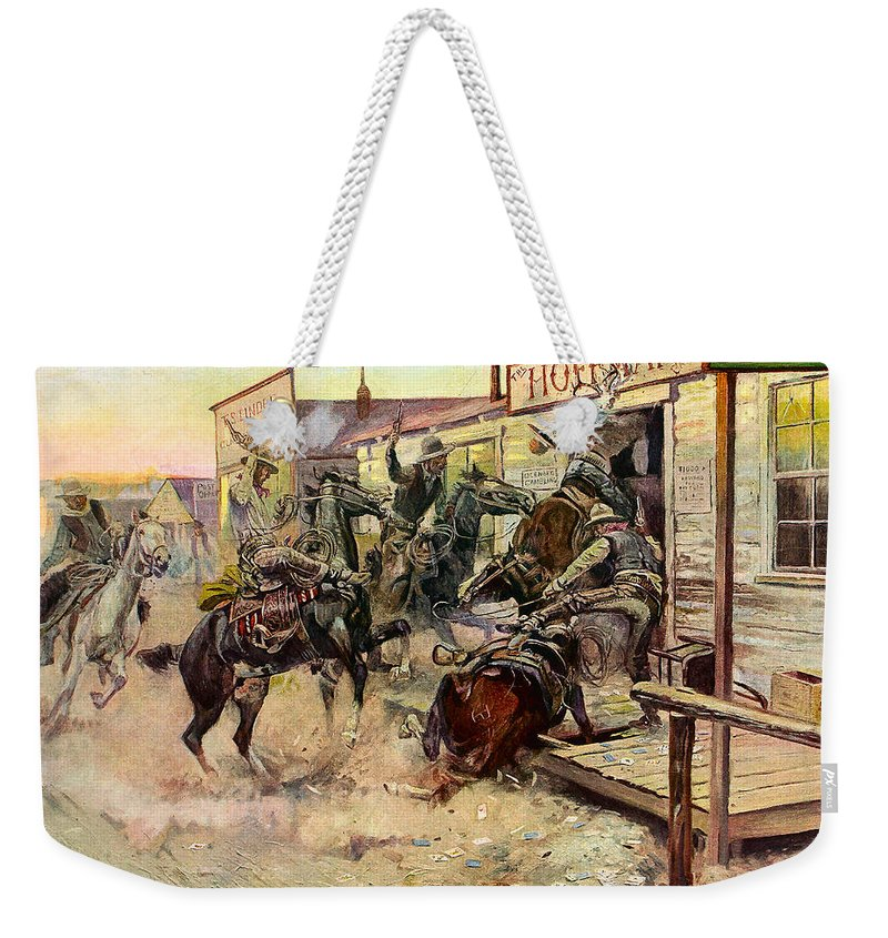 Charles Russell Weekender Tote Bag featuring the digital art In Without Knocking by Charles Russell