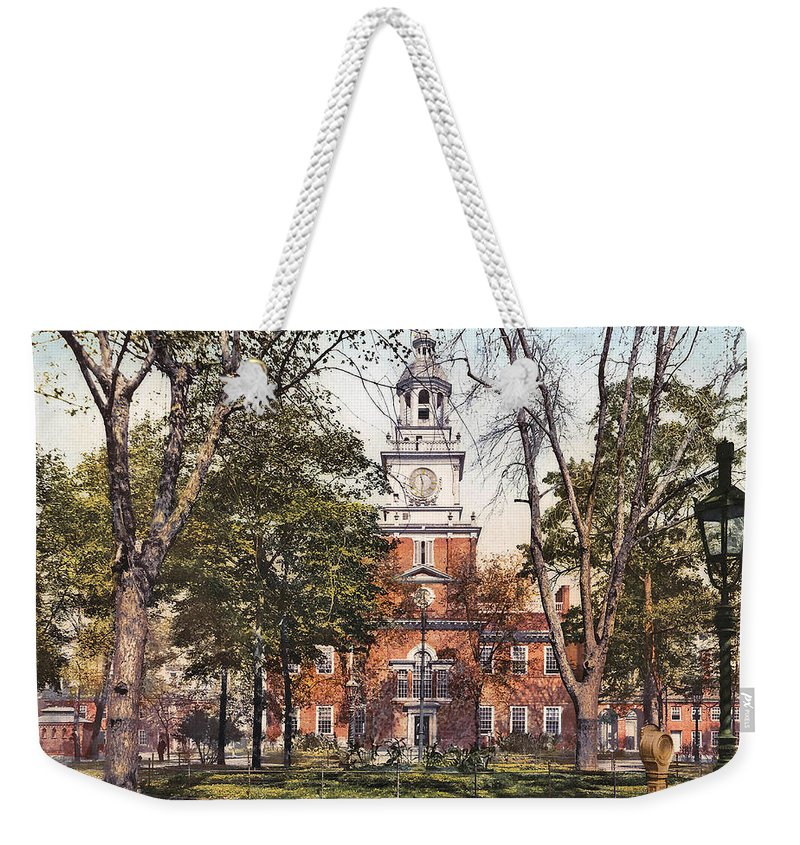 Independence Hall 1900 Weekender Tote Bag featuring the digital art Independence Hall 1900 by Unknown