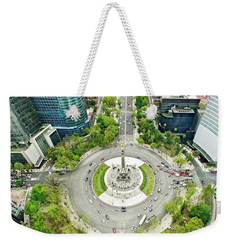 Mexico City Weekender Tote Bag featuring the photograph Independence Monument In Mexico City by Orbon Alija