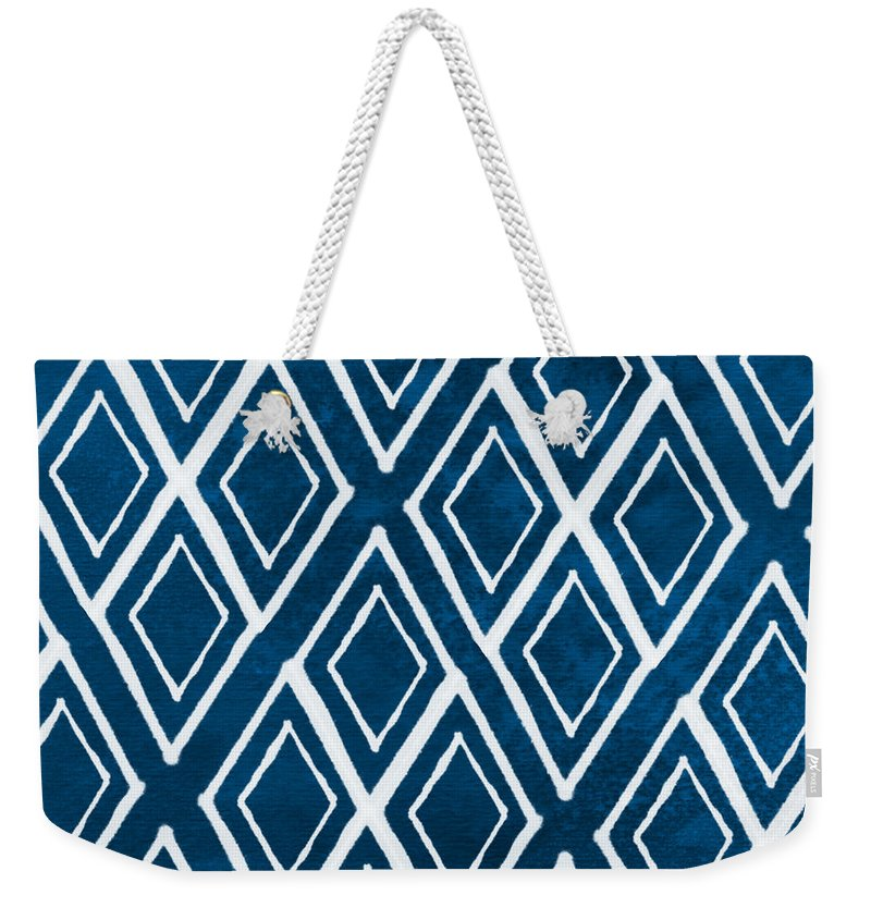Indigo And White Weekender Tote Bag featuring the painting Indgo and White Diamonds Large by Linda Woods