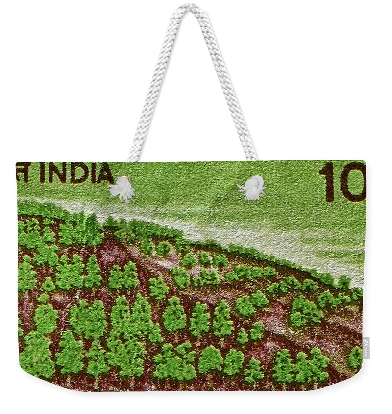 India Weekender Tote Bag featuring the photograph India 10.00 Stamp by Bill Owen
