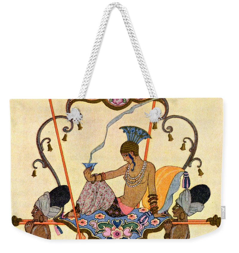 Stencil Weekender Tote Bag featuring the painting India by Georges Barbier