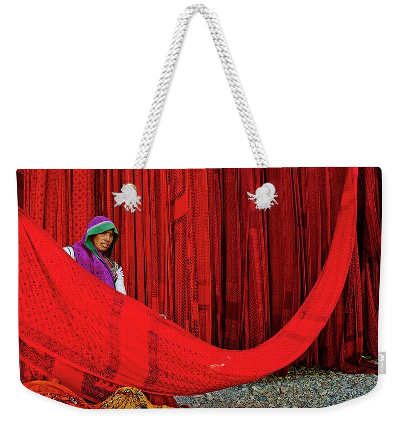 Expertise Weekender Tote Bag featuring the photograph India, Rajasthan, Sari Factory by Tuul & Bruno Morandi