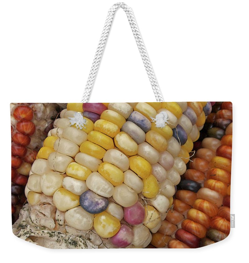 Indian Corn Weekender Tote Bag featuring the photograph Indian Corn by Ann Horn