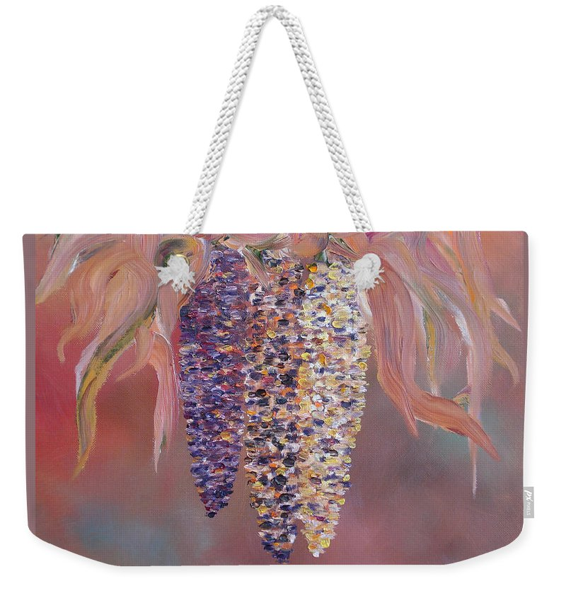 Indian Weekender Tote Bag featuring the painting Indian Corn by Judith Rhue