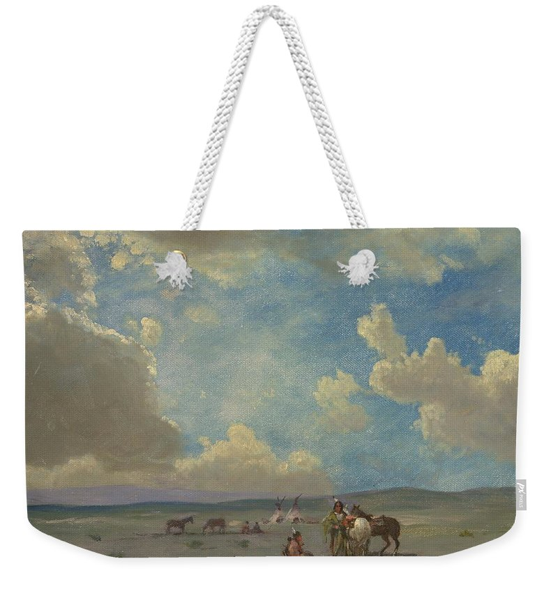 Albert Bierstadt Weekender Tote Bag featuring the painting Indian Encampment by Albert Bierstadt