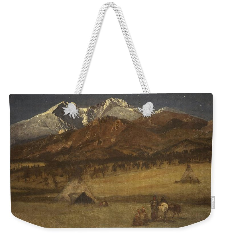 Albert Bierstadt Weekender Tote Bag featuring the painting Indian Encampment - Evening by Albert Bierstadt