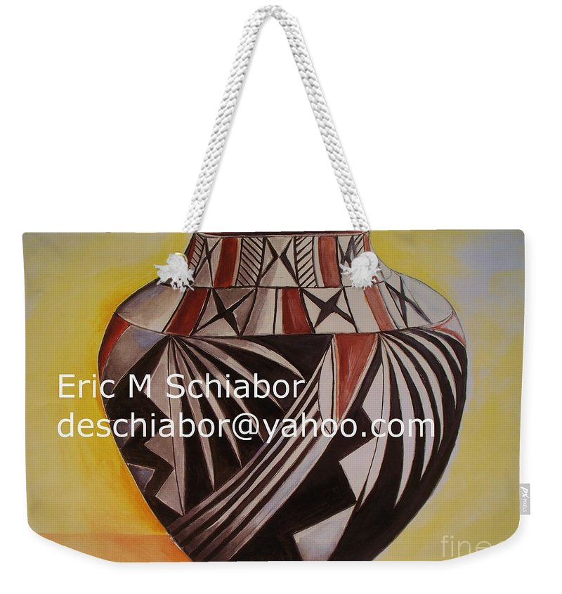Indian Weekender Tote Bag featuring the painting Indian Pottery by Eric Schiabor