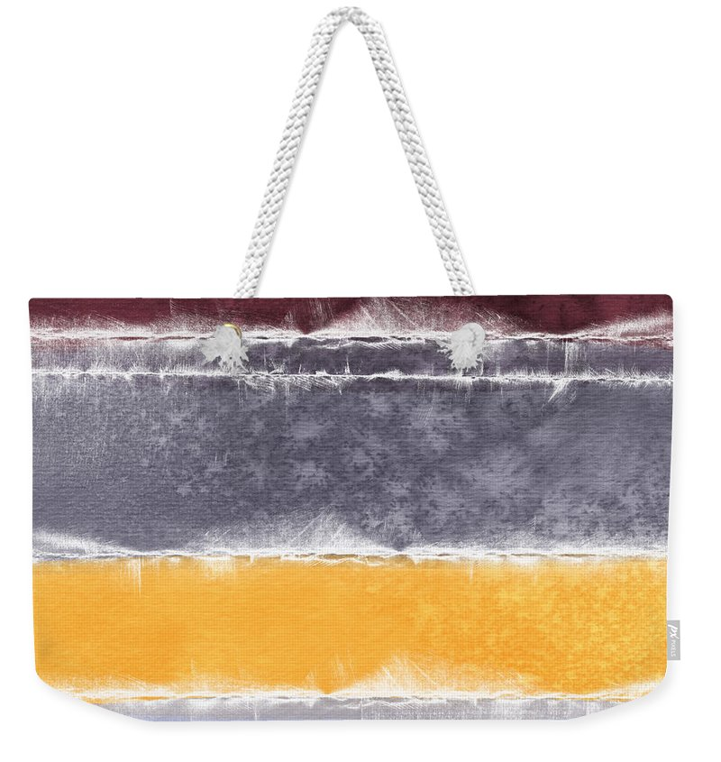 Abstract Weekender Tote Bag featuring the painting Indian Summer by Linda Woods