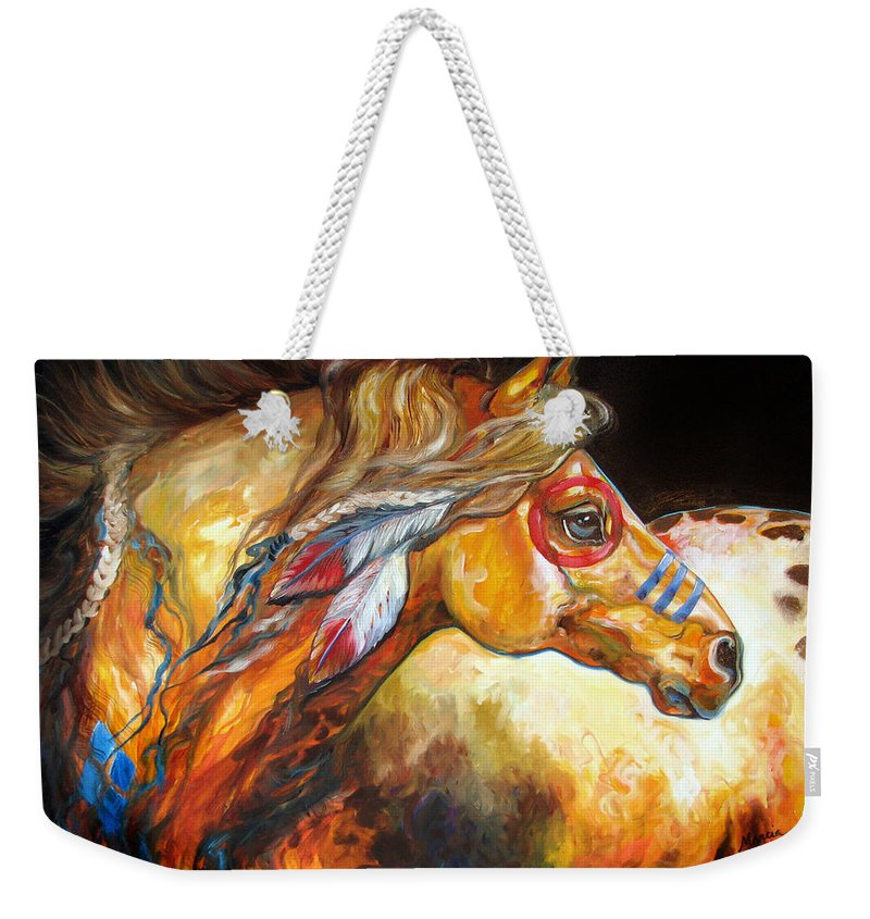 Horse Weekender Tote Bag featuring the painting Indian War Horse Golden Sun by Marcia Baldwin