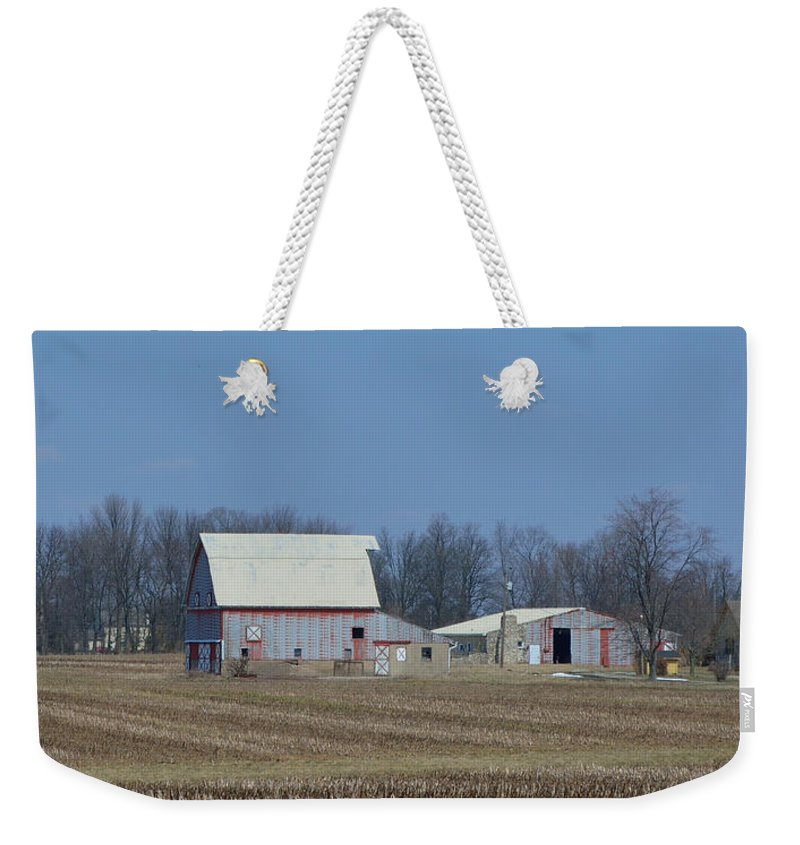 Barns Weekender Tote Bag featuring the photograph Indiana Barns by Alys Caviness-Gober