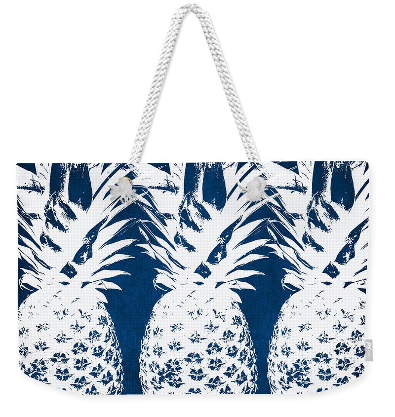Indigo And White Pineapples Weekender Tote Bag