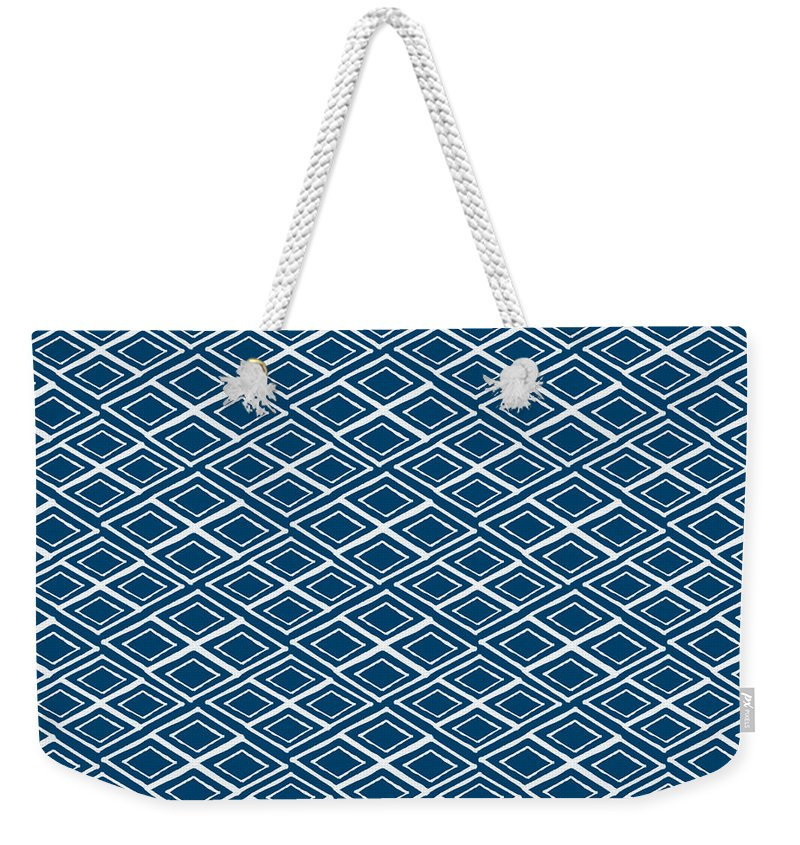 Indigo And White Weekender Tote Bag featuring the painting Indigo and White Small Diamonds- Pattern by Linda Woods