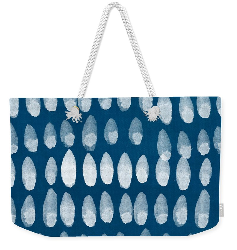 Blue And White Weekender Tote Bag featuring the painting Indigo and White Watercolor by Linda Woods