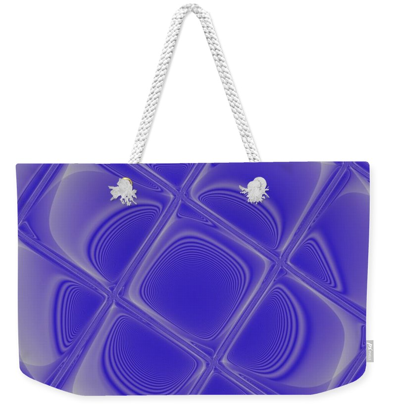Geometric Weekender Tote Bag featuring the digital art Indigo Petals Morphed by Pharris Art