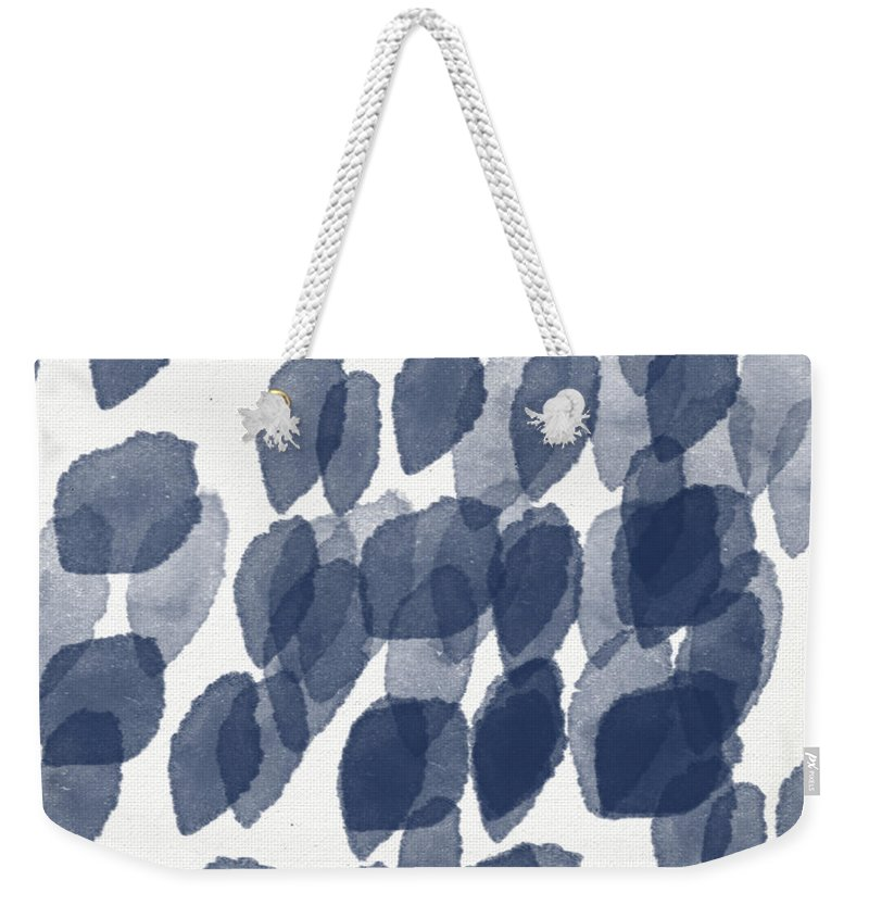 Abstract Painting Weekender Tote Bag featuring the mixed media Indigo Rain- Abstract Blue And White Painting by Linda Woods