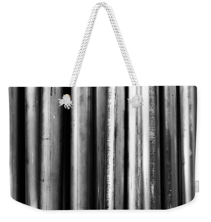 Pipe Weekender Tote Bag featuring the photograph Industrial Lines by Robert Hayton