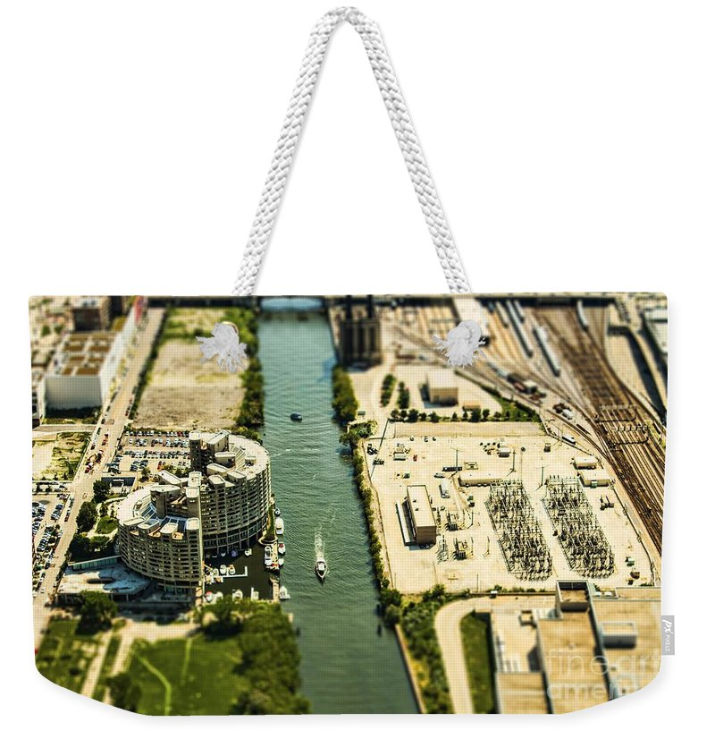 Chicago Weekender Tote Bag featuring the photograph Industrial Riverside by Andrew Paranavitana