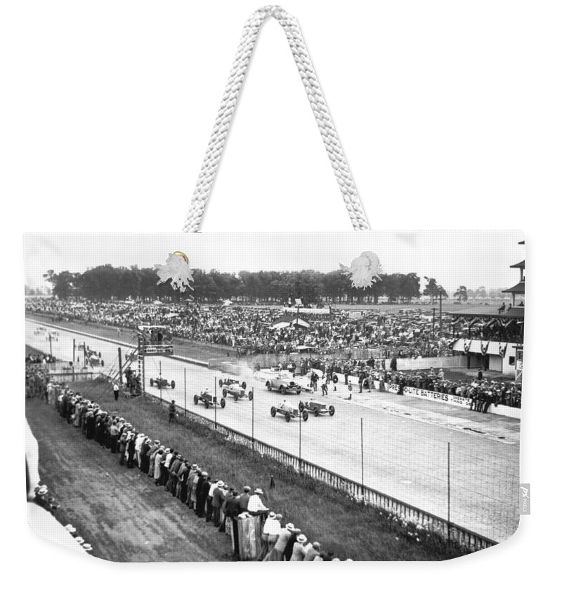 1920's Weekender Tote Bag featuring the photograph Indy 500 Auto Race by Underwood Archives