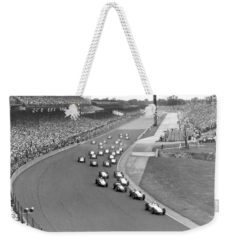 1950's Weekender Tote Bag featuring the photograph Indy 500 Race Start by Underwood Archives