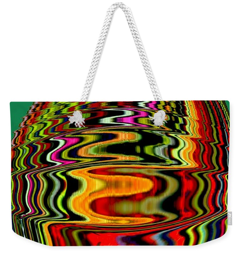 Digital Art Weekender Tote Bag featuring the photograph Infinity Jar 3 Rainbow Swirl by Cj Carroll