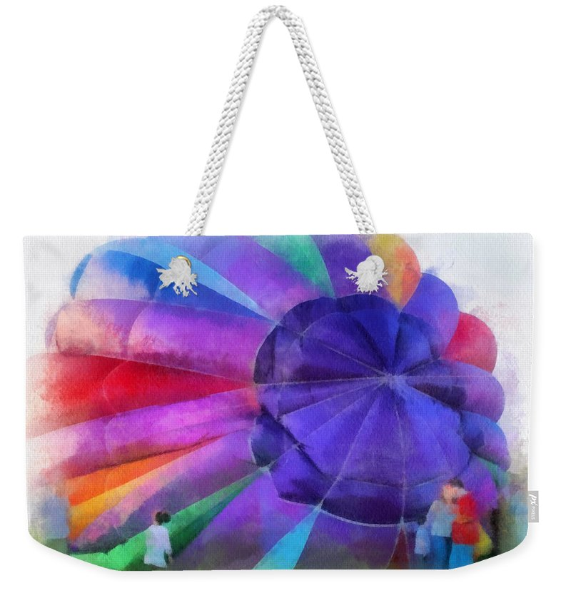 Hot Weekender Tote Bag featuring the photograph Inflating The Rainbow Hot Air Balloon Photo Art by Thomas Woolworth